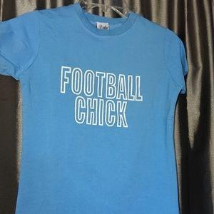 NEW women's t shirt M Football Chick blue